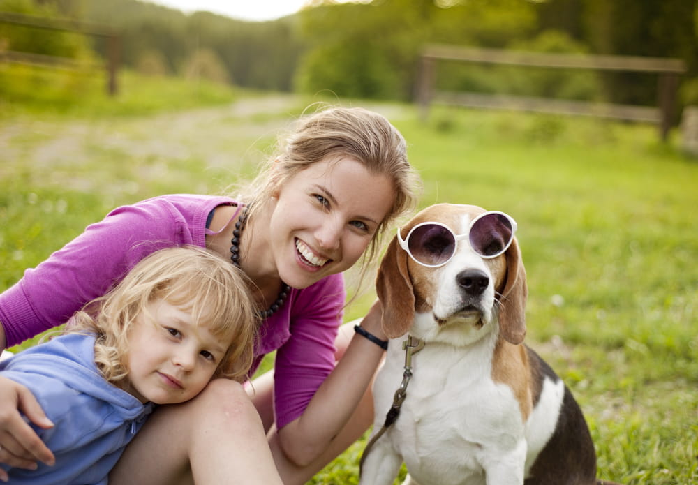 Woman and Kid with a Beagle