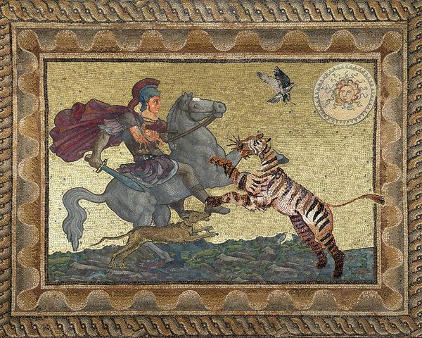 An image of Alexander the great fighting alongside his dog, Peritas